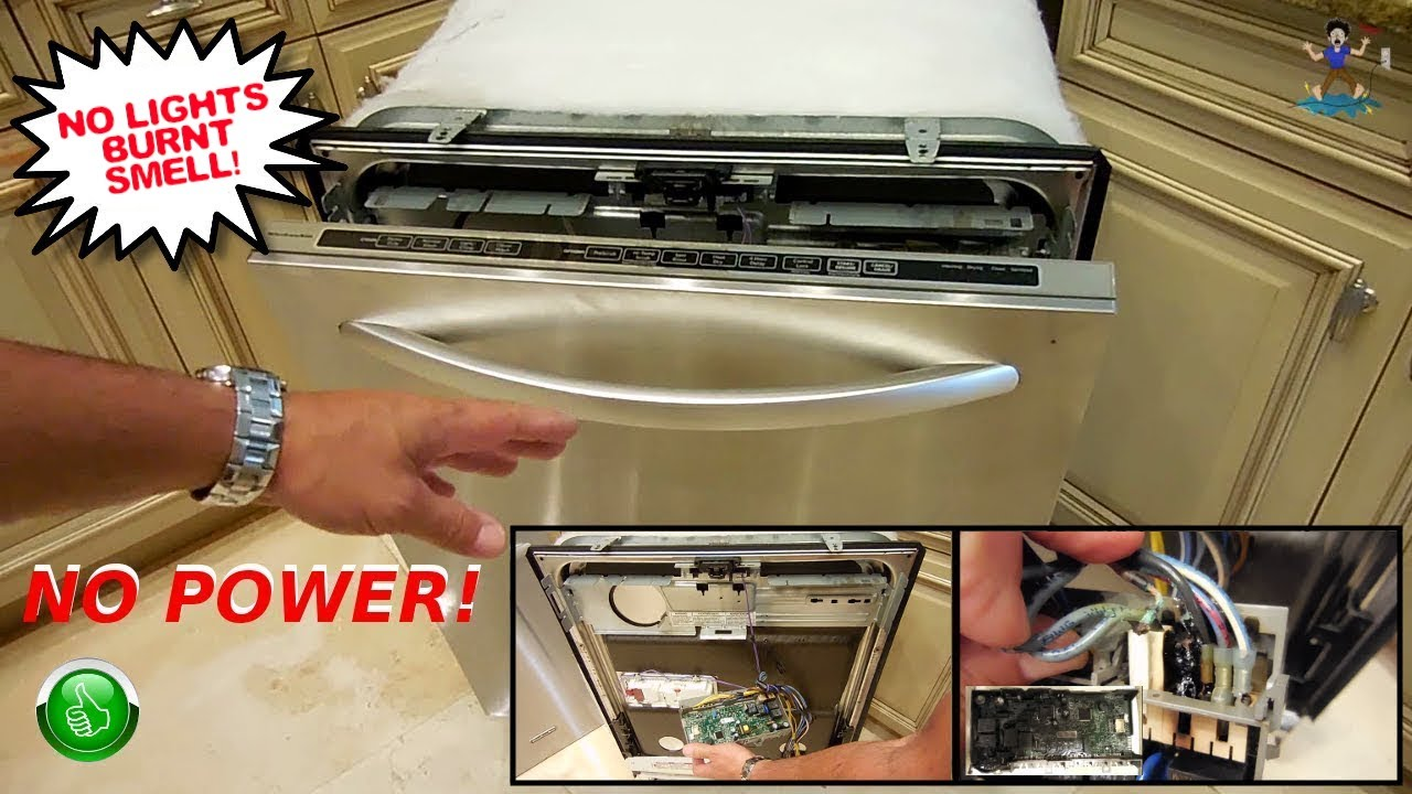 Bon KitchenAid Dishwasher Repair(NO POWER U0026 BURNING SMELL)