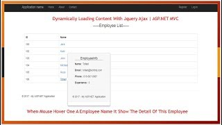 Dynamically Loading Content With Jquery Ajax | ASP.NET MVC