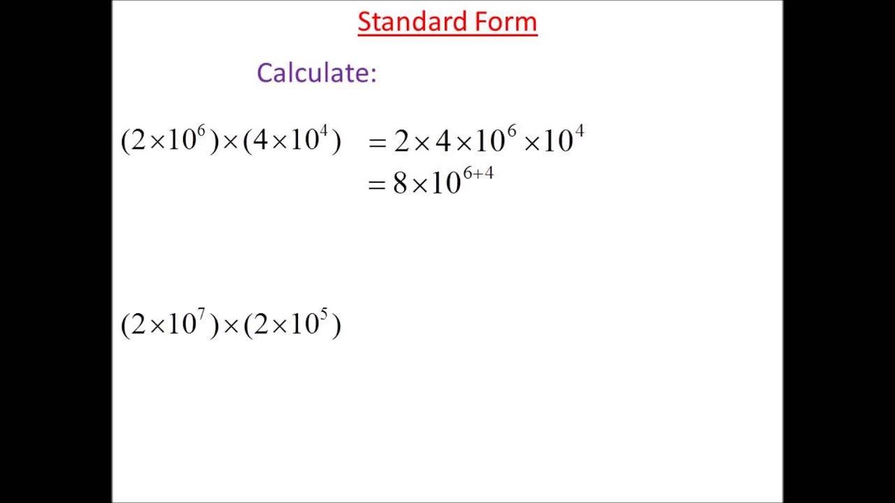 Standard form multiplication 1 youtube standard form multiplication 1 falaconquin