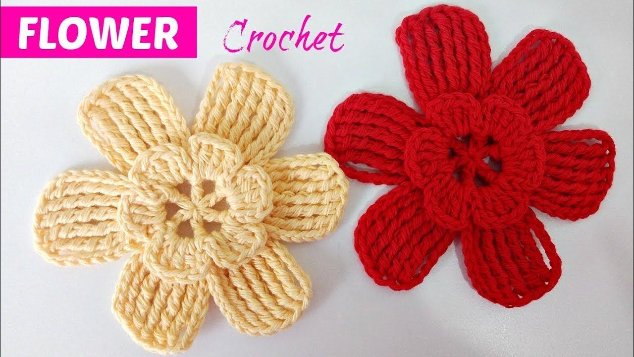 Teje Flores A Crochet Muy Fáciles Y Elegantes Youtube