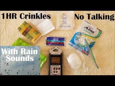 ASMR Crinkle Sounds Crinkling Plastic Paper Bags Rain Sounds Taping on Car Binaural No Talking 1HR