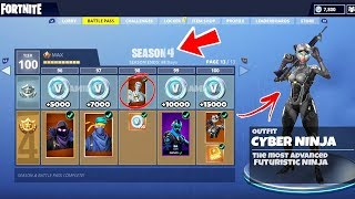 "NEW SEASON 4 Tier 100 Battle Pass ""CYBER NINJA"" Skin in Fortnite - Season 4 All Skins + Items LEAKED"