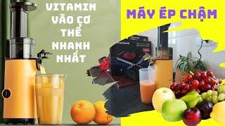 Sử dụng máy ép chậm , ép trái cây  hoa quả cầm tay siêu mạnh mẽ 500ml chính hãng bảo hành 24 tháng