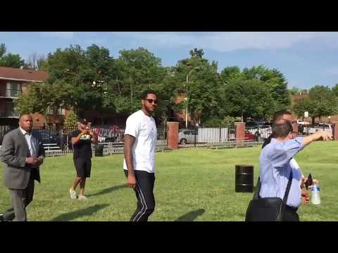 Carmelo Anthony arrives at (Baltimore) The Basketball Tournament