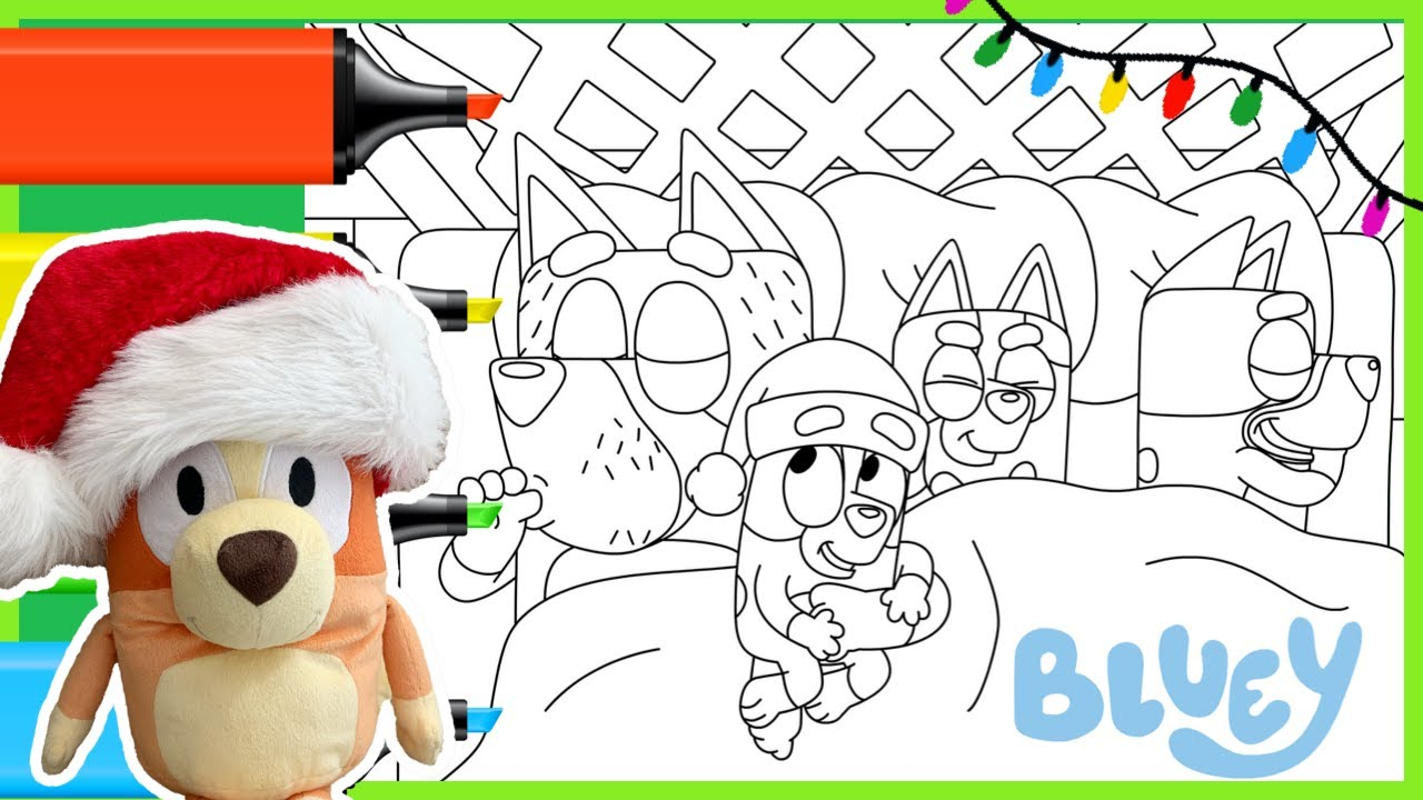 Bluey Bingo Coloring Page Christmas Verandah Learning To Color With Markers Play Create Youtube