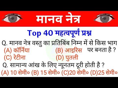 मानव नेत्र/Human eye | Manaw netr Objective question | Human eye Objective question | manaw netr 10