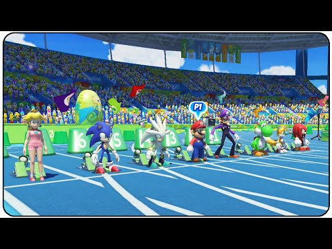Mario and Sonic at the Rio 2016 Olympic Games (Wii U) - All Characters 100m Gameplay