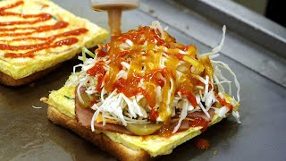 spotted with yellow egg toast (3,000KRW) / korean street food
