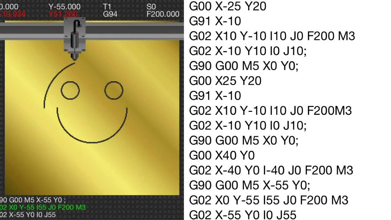 sample g codes 1 smiley face circular interpolation basics