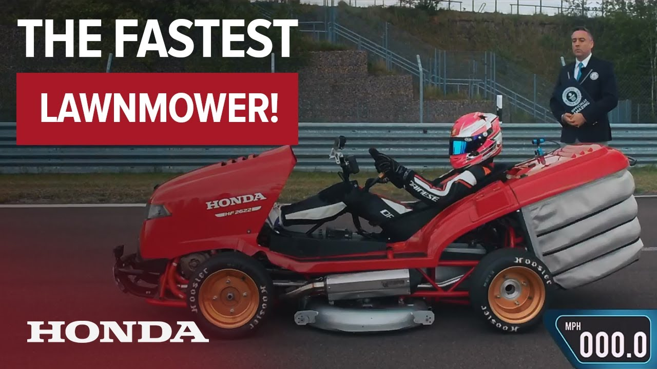 Fastest Lawnmower with Guinness World Records™! Honda Mean Mower reaches 100mph in 6.285 Seconds - YouTube