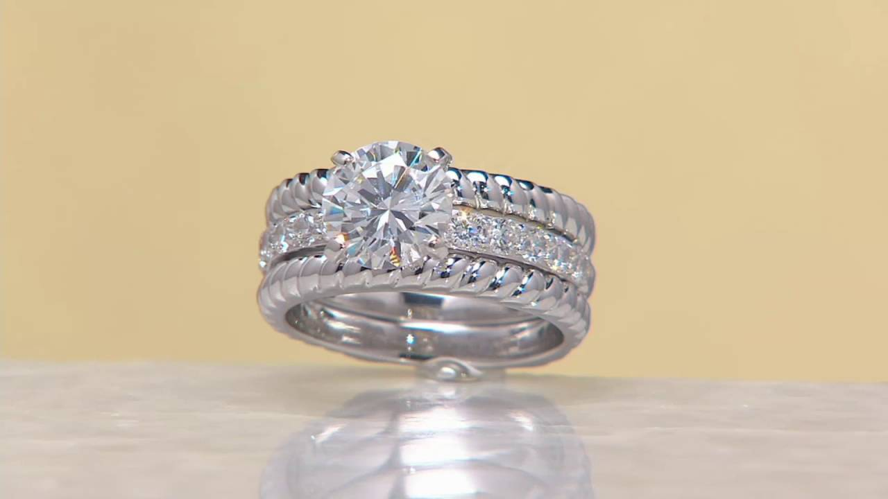 Diamonique Twisted Bridal Ring Set Sterling or 14K Clad on QVC