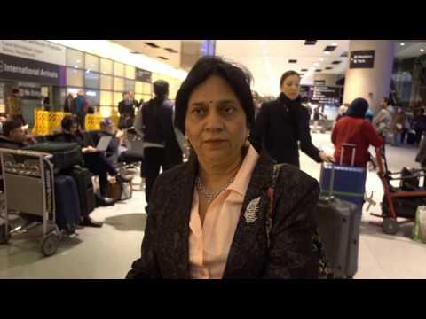 Aruna & Hari Sharma At Boston Logan Int. Airport Terminal E arrival Hall, Feb 14, 2017