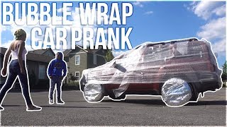 CRAZY BUBBLE WRAP CAR PRANK ON BOYFRIEND!!! *Goes Crazy!