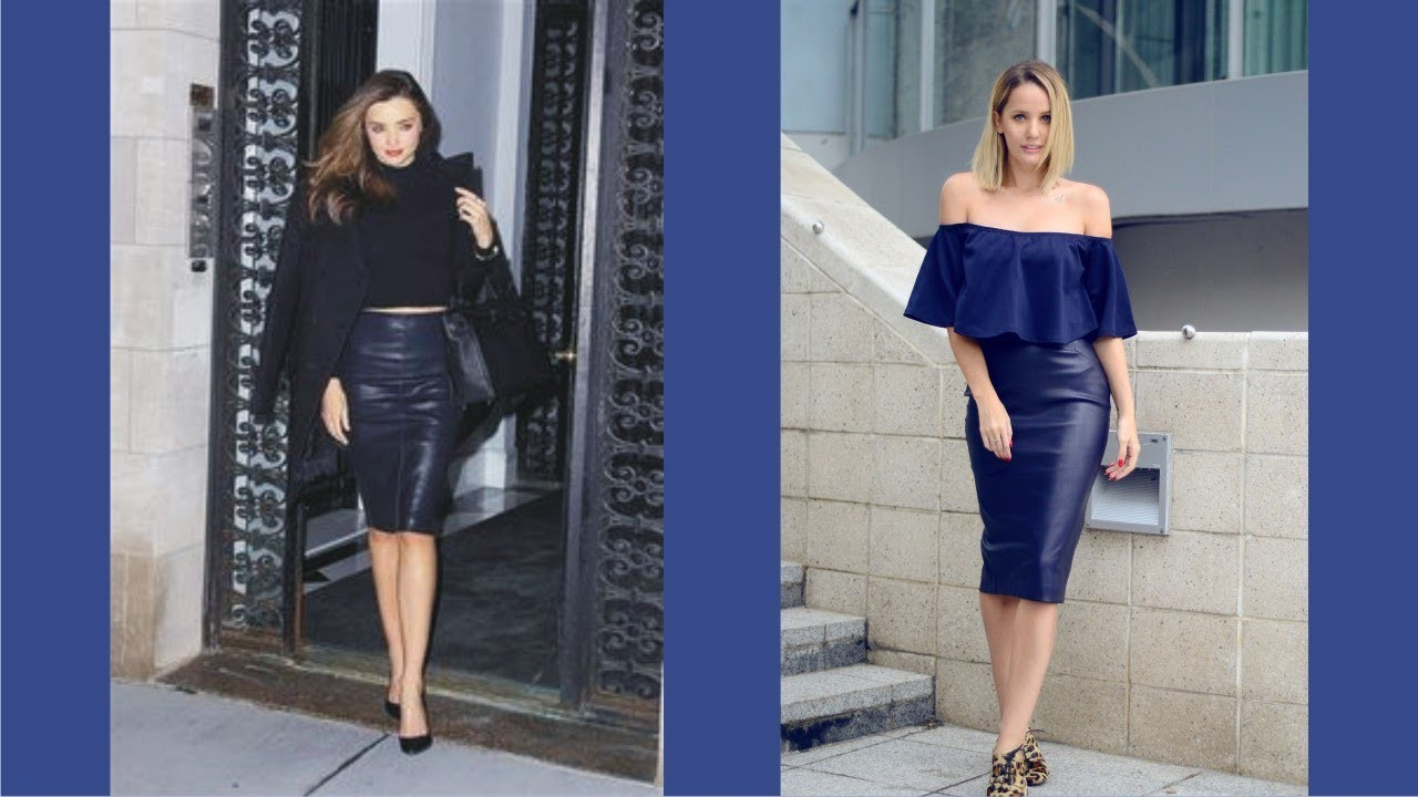 deefc51e3 Best Navy Leather Pencil Skirt today - YouTube