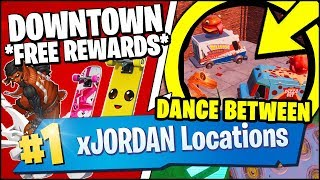 DANCE OR EMOTE BETWEEN TWO FOOD TRUCKS (FORTNITE x JORDAN Downtown Drop Challenges ALL FREE REWARDS)
