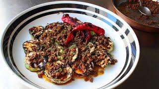 Grilled Squash with Chorizo Vinaigrette - Pattypan Squash with Hot Chorizo Dressing