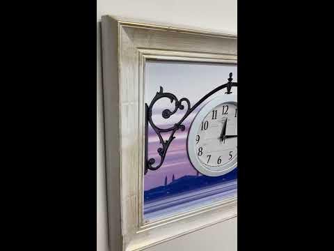Настенные часы-картины GALAXY АYP-541-6 с рамой белого цвета с золотой патиной
