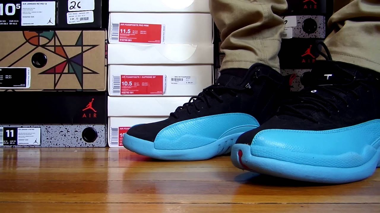 76026ac257c5cf Nike Air Jordan Gamma Blue 12 On Feet - Detailed Look - YouTube
