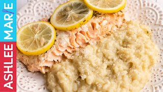 How to make Baked Lemon Salmon with cheesy instant pot risotto recipe