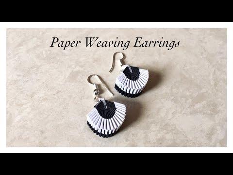 Paper Weaving Fan Shape Earrings / Quilling Weaved Earrings / Quilling Earrings Charm   Priti Sharma