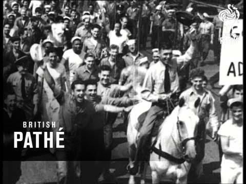 Us Celebrates Japanese Surrender (1945)