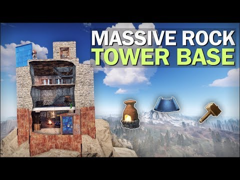 BUILDING a TOWER on a MASSIVE ROCK! - Rust Solo Survival
