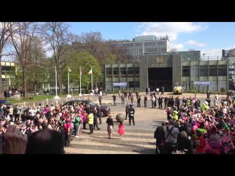 President Michael D Higgins arrives in Coventry on UK State