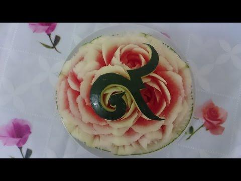 แกะสลักแตงโมลายดอกกุหลาบ watermelon carving 🍉 แกะสลักผักและผลไม้ | Thai carving by Arm