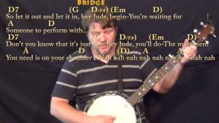 Hey Jude (The Beatles) Banjo Cover Lesson in D with Chords/Lyrics