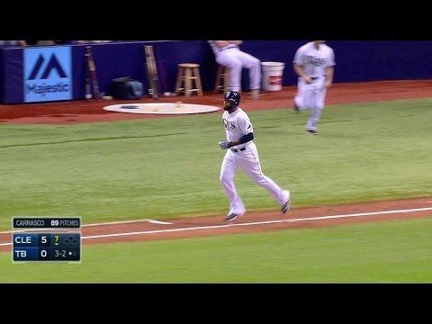 CLE@TB: Butler draws a walk to end perfect game bid