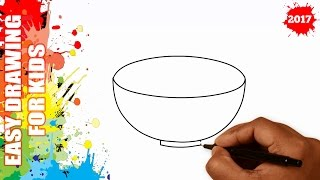 How to draw a Bowl EASY for kids in 40s - Easy drawing for kids