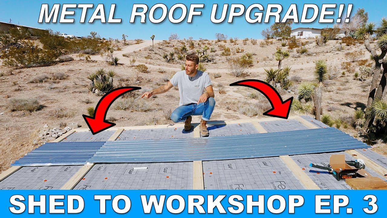 SHED TO WORKSHOP Ep. 3 | Installing Corrugated Sheet Metal Roof | Modern Builds
