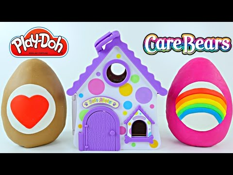 Play-Doh Soft Spots Surprise Eggs Portable Puppy House Care Bears Blind Bags Huevos Sorpresa