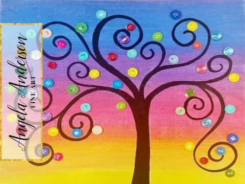 Rainbow Button Tree Acrylic Painting Tutorial Live