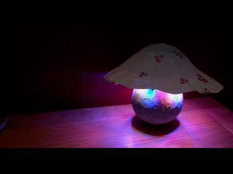 DIY Easy How To Make a Giant Paper Mache Mushroom Fairy Night Light Lamp