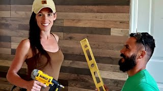 FLOORING On The WALLS?! Affordable Wall Finishings For Our Debt-Free Tiny Home Build