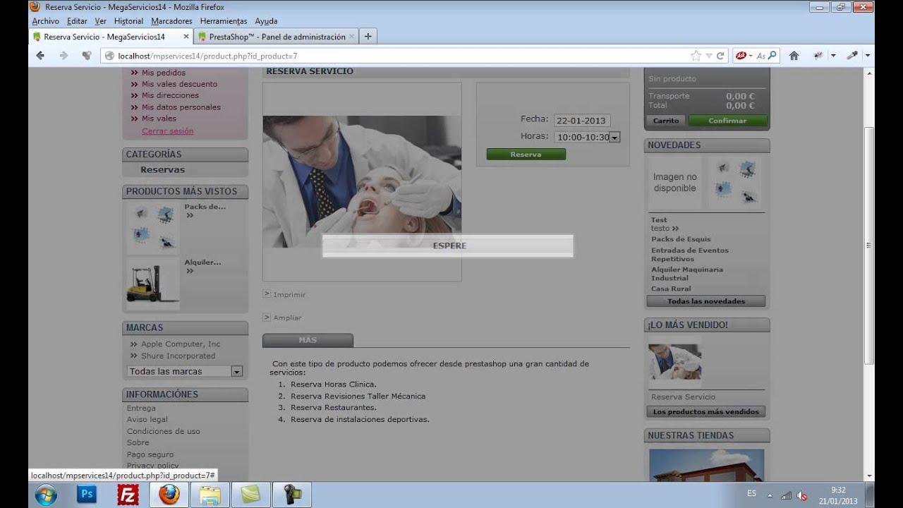 Módulo de reservas y venta de servicios para Prestahop - YouTube