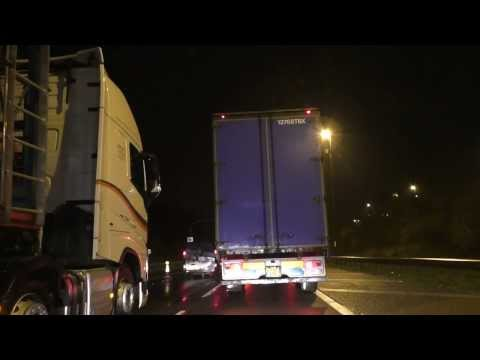 Night Drive On The M5, M6, M62 & M57 Motorways From Worcester To Liverpool , UK 21st November 2014