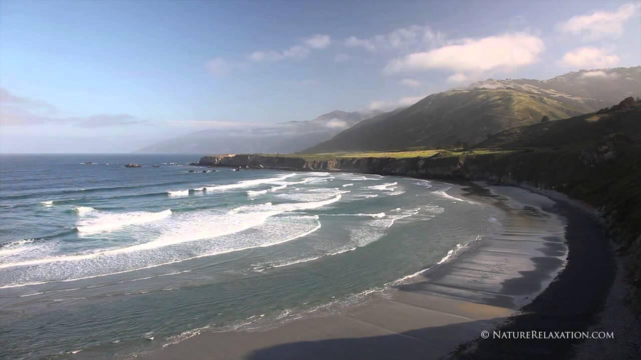 (Stock Nature Video) Coastal Waves at Sandollar Beach Big Sur Waves Loop  Stereo Sounds HD 720p