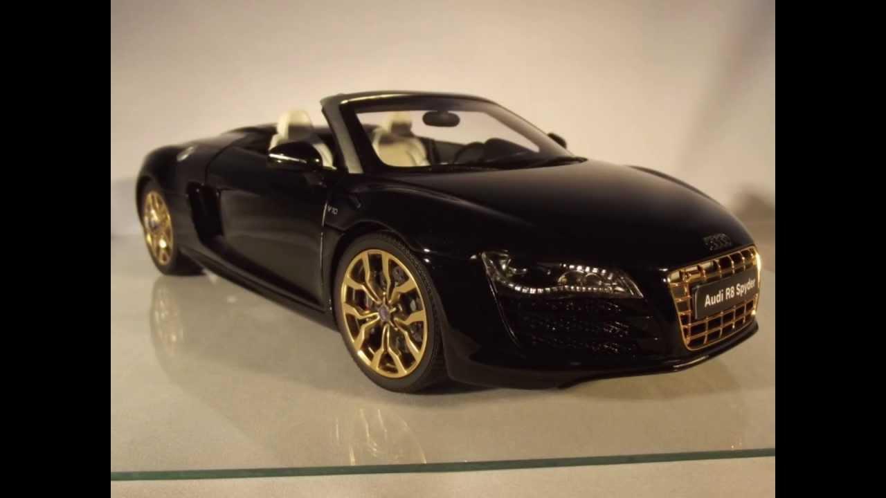 Audi R8 V10 Spyder Phantom Black Kyosho 1 18 24 Karat Gold