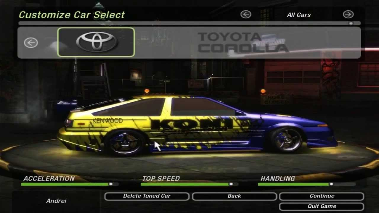 Nfs Underground  All Cars Unlocked Save Game