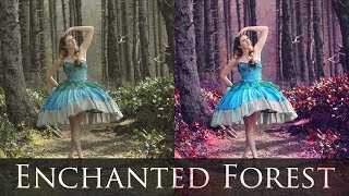 Adobe Photoshop Tutorials CS6 How to Magical Forest vibrant colors contrast fairytale retouching