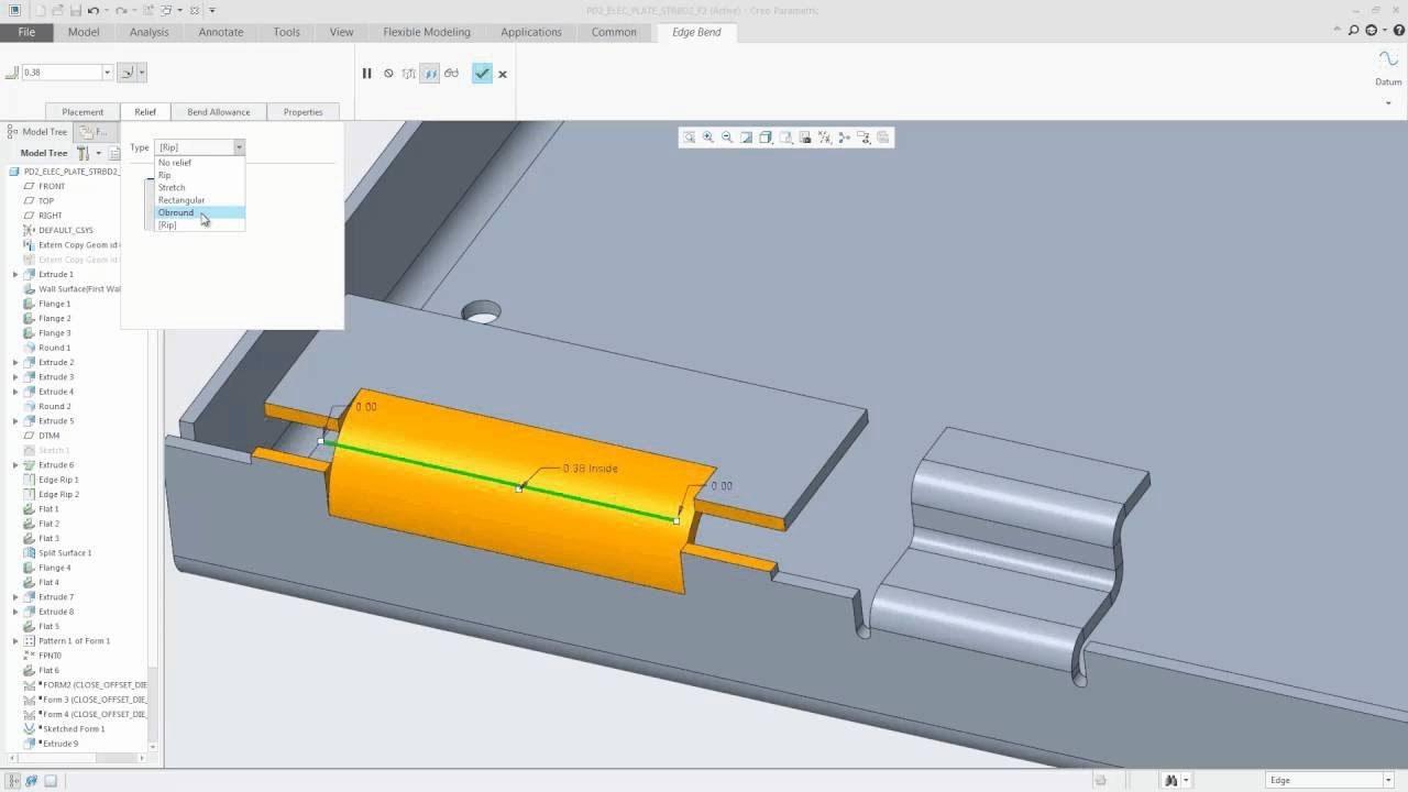 New To Creo 4 0 Sheetmetal Design Edge Bend Is