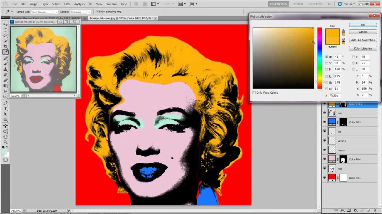 Photoshop Basics Andy Warhol Silk Screen Youtube