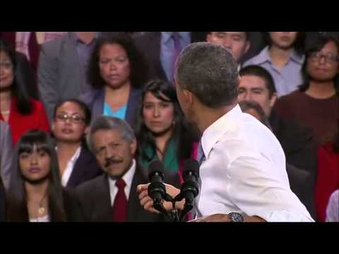Obama confronts heckler at immigration reform rally