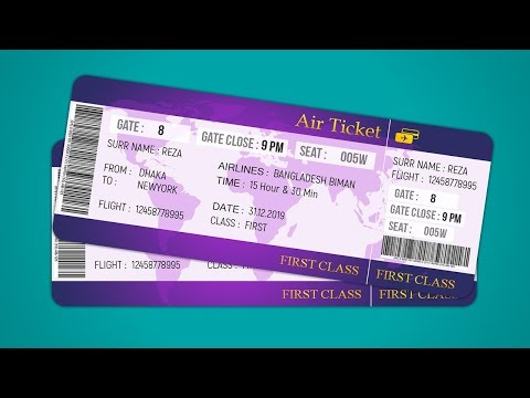 Air Ticket Design | How To Design Plane Ticket | Photoshop T