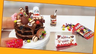 Mini kinder CHOCOLATE schock cake/ real cake/ Jenny's mini cooking/DIY /食べれるミニチュア