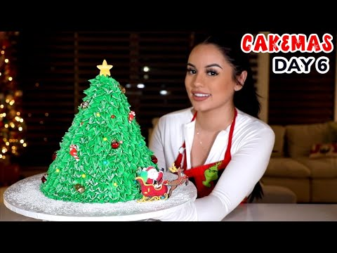 I MADE A HUGE CHRISTMAS TREE CAKE! | CAKEMAS