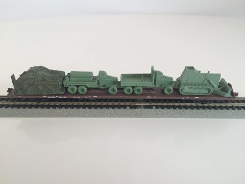 Micro Trains N Scale Model Train Rolling Stock - BNSF Military Army Loaded Flat Car