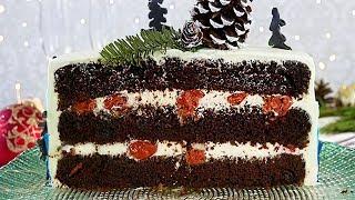 Новогодний Торт Чёрный  Лес.  Как украсить новогодний торт. 🎄